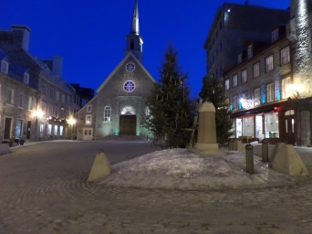 A certain familiar corner of Old Quebec City. Guess where.